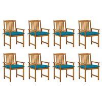 vidaXL Záhradné stoličky s podložkami 8 ks akáciový masív