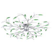 vidaXL Stropná lampa s listovými ramenami z akrylové kryštály 5 žiaroviek E14 zelená