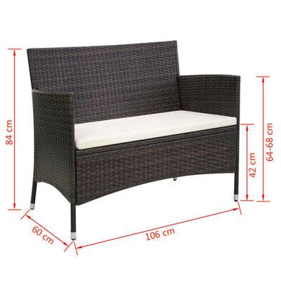 vidaXL Záhradná lavička 106 cm, polyratan, hnedá