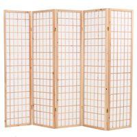 vidaXL Skladací paraván s 5 panelmi, japonský štýl 200x170cm, prírodný