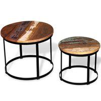 vidaXL Konferenčné stolíky 2 ks, recyklovaný masív, okrúhle 40cm/50cm