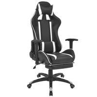 vidaXL Sklápacie kancelárske kreslo s podnožkou, pretekársky dizajn, biele