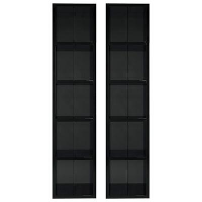 vidaXL Skrinky na CD 2 ks lesklé čierne 21x16x93,5 cm drevotrieska