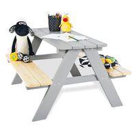 Pinolino Detský piknikový stôl s lavicami Nicki für 4 drevený sivý