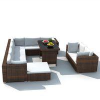 vidaXL 10-dielna záhradná sedacia súprava+podložky, polyratan, hnedá