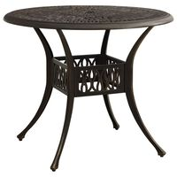 vidaXL Záhradný stôl bronzový 90x90x74 cm liaty hliník