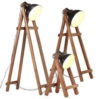 vidaXL Stojanové lampy 3 ks čierne E27 masívne mangovníkové drevo