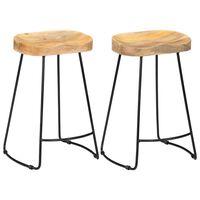 vidaXL Barové stoličky Gavin 2 ks, mangový masív