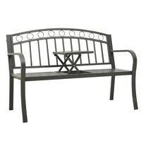 vidaXL Záhradná lavička so stolíkom 125 cm oceľ sivá