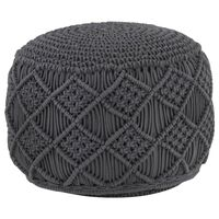 vidaXL Ručne vyrobená taburetka macrame, antracitová 45x30 cm, bavlna
