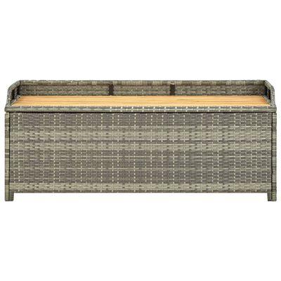vidaXL Záhradná úložná lavica 120 cm, polyratan, sivá