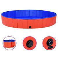 vidaXL Skladací bazén pre psov červený 200x30 cm PVC