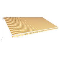 vidaXL Ručne zaťahovacia markíza 600x300 cm žltá a biela