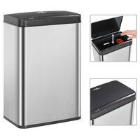 vidaXL Automatický odpadkový kôš so senzorom strieborno-čierny nehrdzavejúca oceľ 60 l
