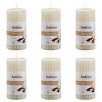 Bolsius Vrúbkované valcové vonné sviečky 6 ks 120x58 mm, vanilka