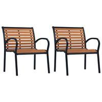 vidaXL Záhradné stoličky 2 ks čierne a hnedé oceľové a WPC