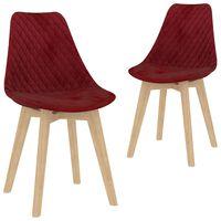 vidaXL Jedálenské stoličky 2 ks, vínovo červené, zamat