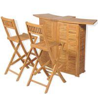 vidalXL 3-dielna bistro súprava, skladacie stoličky, tíkový masív