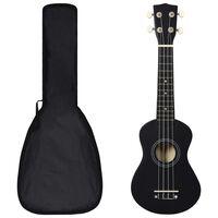 "vidaXL Sopránové ukulele s taškou pre deti čierne 21"""