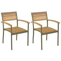 vidaXL Stohovateľné vonkajšie stoličky 2 ks, akáciový masív a oceľ