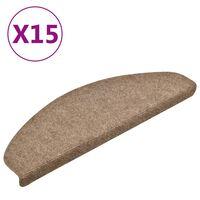 vidaXL Samolepiace nášľapy na schody 15 ks krémové 65x21x4 cm vpichovaná textília