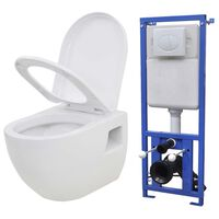 vidaXL Závesná toaleta/WC s podomietkovou nádržkou, keramická, biela