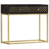vidaXL Konzolový stolík čierny a zlatý 90x30x75 cm mangovníkový masív