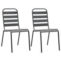 vidaXL Stohovateľné vonkajšie stoličky 2 ks, oceľ, sivé