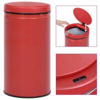vidaXL Automatický odpadkový kôš, senzor 60 l, uhlíková oceľ, červený