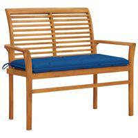vidaXL Záhradná lavička, modrá podložka 112 cm, tíkový masív