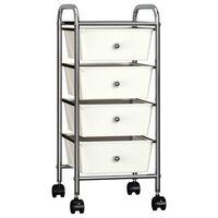 vidaXL Mobilný úložný vozík so 4 zásuvkami biely plastový