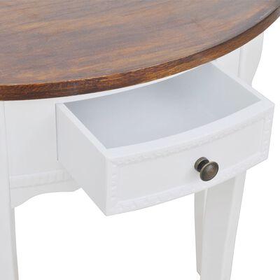 vidaXL Konzolový stolík so zásuvkou a hnedou doskou v tvare polkruhu