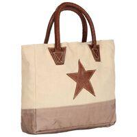 vidaXL Nákupná taška béžová 32x10x37,5 cm plátno a pravá koža