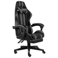 vidaXL Herná stolička s opierkou na nohy čierna a sivá umelá koža
