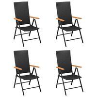 vidaXL Záhradné stoličky 4 ks polyratan čierne