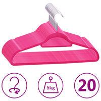 vidaXL 20-dielna sada vešiakov na oblečenie protišmyková ružová zamatová