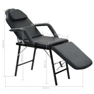 vidaXL Prenosné kozmetické kreslo, umelá koža 185x78x76 cm čierne