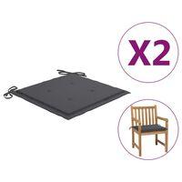vidaXL Podložky na záhradné stoličky 2 ks, antracitové 50x50x4 cm