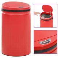 vidaXL Automatický odpadkový kôš, senzor 40 l, uhlíková oceľ, červený