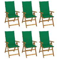 vidaXL Skladacie záhradné stoličky s vankúšmi 6 ks akáciový masív