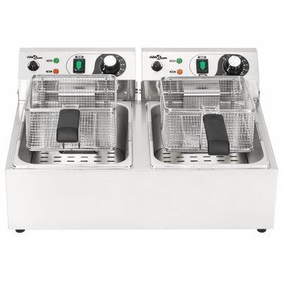 vidaXL Dvojitá elektrická fritéza, nehrdzavejúca oceľ, 20 l 6000 W