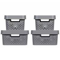 Curver Sada úložných boxov s vrchnákmi Infinity 4 ks antracitové 4,5 l +11 l