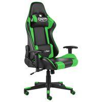 vidaXL Otočná herná stolička zelená PVC
