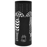 vidaXL Stojan na dáždniky, motív so ženami oceľový čierny
