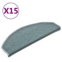 vidaXL Kobercové nášľapy na schody 15 ks modré 65x24x4 cm