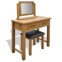 vidaXL Toaletný stolík so stoličkou, dubový masív