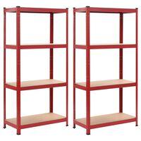 vidaXL Skladovacie regály 2 ks, červené 80x40x160 cm, oceľ a MDF