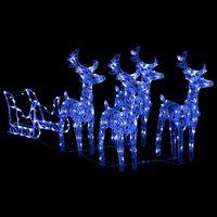 vidaXL Vianočná dekorácia so sobmi a saňami 280x28x55 cm akryl