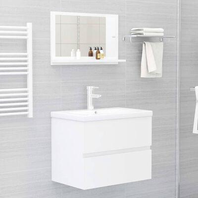 vidaXL Kúpeľňové zrkadlo, lesklé biele 60x10,5x37 cm, drevotrieska