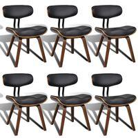 vidaXL Jedálenské stoličky 6 ks, ohýbané drevo a umelá koža